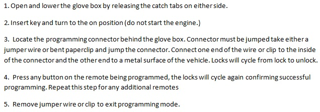 Free Keyless Entry Remote Programming