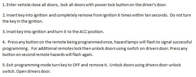 Free Keyless Entry Remote Programming